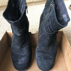 BORN distressed black suede booties